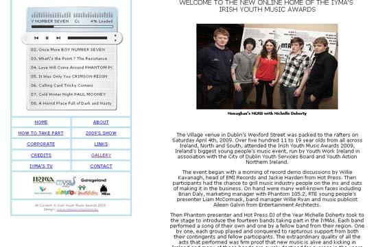 Screenshot of IYMA's website